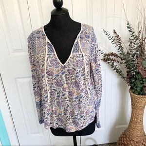 Lucky Brand   Printed Paisley Peasant Blouse